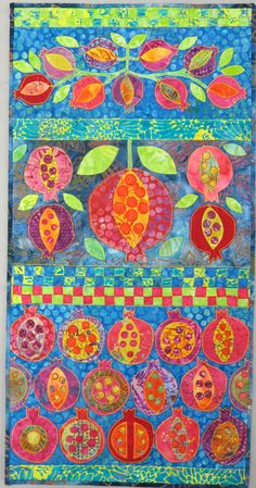 hum romãs que delícia / One of a series of pomegranate quilts by Gillian Travis Applique Patterns, Applique Quilts, Quilt Patterns, Quilting Designs, Quilting Projects, Art Quilting, Pomegranate Art, Pomegranate Pictures, Art Doodle