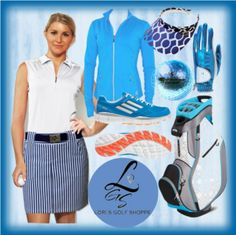 Going to the greens in JoFit Apparel with matching blue Adidas Shoes, blue Sun Mountain Golf Bag, and Glove It accessories. Look as cool as ice!  Find fabulous inspiration for your golf/tennis outfit and accessories at lorisgolfshoppe.polyvore.com #golf #sports #ootd #lorisgolfshoppe