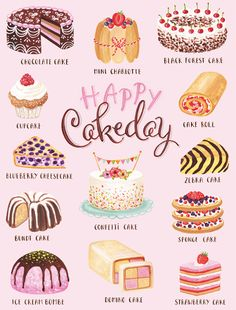 Pin by kim boda on whimsical in 2019 Cute Food Drawings, Cute Animal Drawings Kawaii, Menue Design, Desserts Drawing, Artist Cake, Dessert Illustration, Cute Food Art, Cake Drawing, Chibi Food