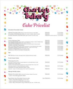 Cake Price List Template 28 Images