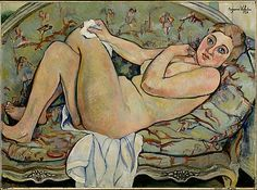 """In her youth, artist Suzanne Valadon modeled for Renoir and Toulouse-Lautrec. Later her own drawings were admired and encouraged by Degas. Many of Valadon's paintings of nudes reflect the sitter's sense of being watched. """"Reclining Nude"""" (1928)  is in the Metropolitan Museum's Robert Lehman collection."""