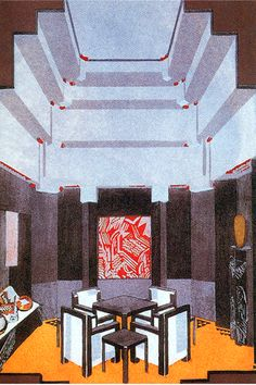 A smoking room by Jean Dunand for the 1925 Paris Exposition