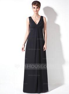 Vestidos de madrina - $99.99 - Corte A/Princesa Escote en V Vestido Chifón Vestido de madrina con Volantes (008021081) http://jjshouse.com/es/Corte-A-Princesa-Escote-En-V-Vestido-Chifon-Vestido-De-Madrina-Con-Volantes-008021081-g21081