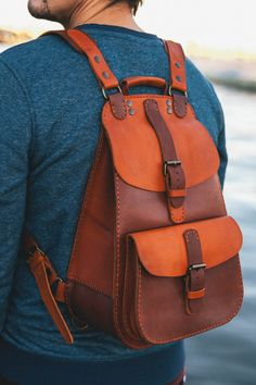 Backpack made of genuine leather handcrafted. Check out related backpacks on Fanatic Leather Store. Leather Backpack For Men, Leather Pouch, Leather Purses, Leather Men, Leather Store, Leather Bags Handmade, Leather Craft, My Bags, Purses And Bags