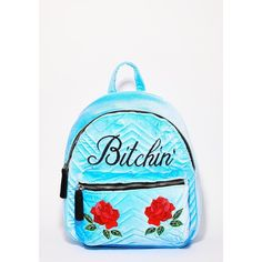 Skinnydip [censored]' Backpack ($50) ❤ liked on Polyvore featuring bags, backpacks, day pack rucksack, backpack bags, blue backpack, embroidered backpack and quilted bag