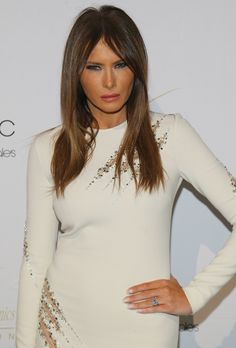 Melania Trump Long Straight Cut - Melania Trump's long straight cut added to her edgy ensemble at the European School of Economics Foundation Vision and Reality Awards in NYC.