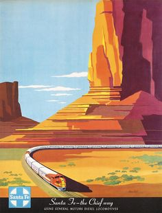 Vintage Retro Style Santa Fe The Chief Way New Mexico United States Travel Advertisement Art Poster Train Posters, Railway Posters, Poster Ads, Poster Prints, 1950s Posters, Advertising Poster, Movie Posters, Vintage Advertisements, Vintage Ads