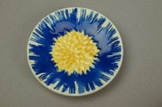 WEDGWOOD cobalt and yellow floral butter pat