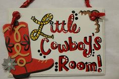 Little boy Cowboy or Western nursery letter with red bandana hanger. $16.00, via Etsy.