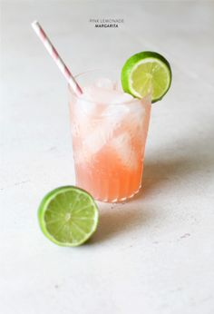 Pink Lemonade Margarita Recipe--- Yes Please!  1.5 oz tequila .5 triple sec Juice of lime wedge 4 oz pink lemonade Splash OJ  Instructions First, rim your glass by dipping the top in water or sweetened lime juice then into an equal parts salt + sugar mixture. For the cocktail, combine all ingredients into a shaker (or a large glass) and mix well. Pour over ice and voila! Summer Drink Perfection.