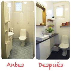 1000 images about antes despues on pinterest pintura grey yellow bedrooms and bathroom - Pintar azulejos de bano antes y despues ...