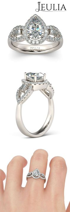 Halo Three-stone Pear Cut Created White Sapphire Rhodium Plating Sterling Silver Women's Engagement Ring #jeulia