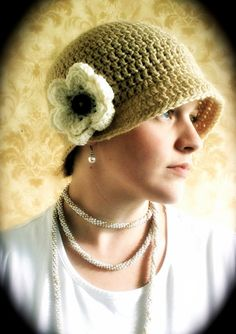 Crochet Flapper Hat with Brim and Button-On Bloom - pattern $6.00 via etsy.com