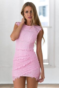 Pink Lace Underlay High Neck Dress<br/><div class='zoom-vendor-name'>By <a href=http://www.ustrendy.com/Xenia>Xenia</a></div>