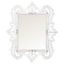 Peacock Scroll Mirror – White