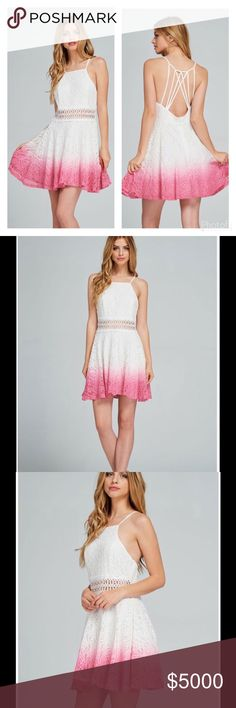 🌸STUNNING IVORY & PINK DIP DYED LACE DRESS🌸 Stunning Ivory & Pink Dip Dyed Lace Dress  🌸Open Shoulder  🌸Ombré Color Scheme 🌸Embroidered Lace Trim at Waist 🌸Open Back with Cross Over Straps 🌸100% Polyester Lining 🌸Gorgeous Wardrobe Addition  🌸Perfect for a Date or a Wedding   🌸Sizes S, M, L 🌸Cotton/Nylon  🚫NO TRADES Peach Couture Dresses