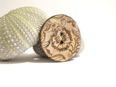 Items similar to Wooden button brooch on Etsy Napkin Rings, Brooches, Buttons, Wood, Fabric, Handmade, Etsy, Accessories, Decor