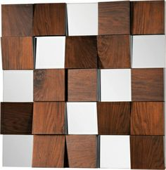 Combination of square mirrors and walnut veneer panels at different heights