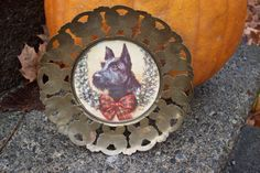 Vintage butterfly metal frame with Scottish Terrier/ Holiday Dog picture in rustic gold butterflies frame/  Collectible home decor by UpcycledCottageDecor on Etsy