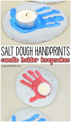 Salt Dough Handprints Candle Holder Keepsakes Craft Idea for Kids to Make