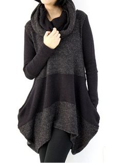 Casual Round Neck Long Sleeve Color Block Asymmetrical Women's SweaterSweaters & Cardigans   RoseGal.com