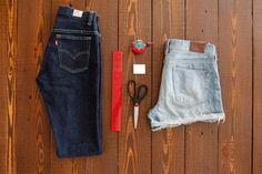 make yo' own perfect cut off jean shorts, distressed shorts, and LACE insert shorts - like.