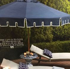 Frontgate umbrella and Blue and white porcelain stand💘