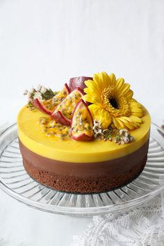 Stunning wholesome gluten-free vegan entremet cake with chocolate and passion fruit mousse layers. Entremet Cake, Entremet Recipe, Passion Fruit Mousse, Passion Fruit Cake, Chocolate Belga, Vegan Chocolate, Chocolate Fruit Cake, Chocolate Art, Fruit Cheesecake
