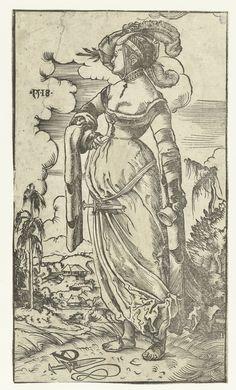 Artist: Deutsch, Niklaus Manuel, Title: Dwaze maagd met uitgedoofde olielamp in landschap, Date: 1518