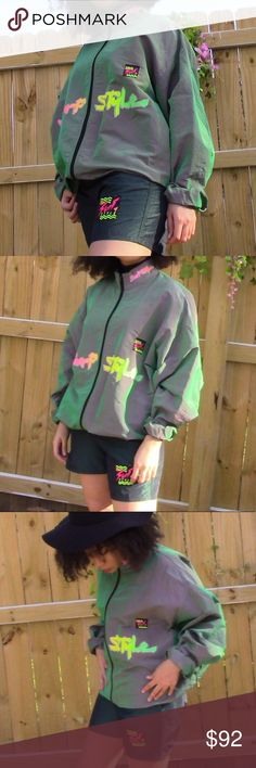 Vintage surf style 2 set windbreaker/ shorts I wish I can keep these but I rarely wear! This is a surf style 2 set. Theme is green and comes with the shorts and jacket! If you want them separate message me. I love the vintage vibe it gives and has the logos on both. If yuh wanna rock the streets this look for you. Jacket: one size Shorts: size small 65% Polyester  35% Nylon Im 5'3 Surf Style Jackets & Coats