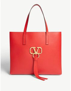 Valentino V ring shopper bag Valentino Clothing, Valentino Shoes, Valentino Rockstud, Shopper Tote, Satchel, Crossbody Bag, Tote Bag, Selfridges & Co, Leather Tassel