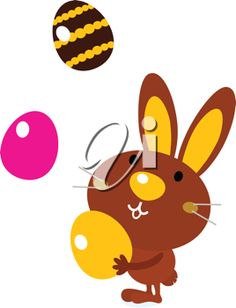 iCLIPART - Royalty Free Clipart Image of a Rabbit Juggling Easter Eggs