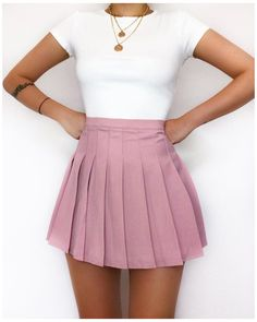 Cute Skirt Outfits, Girly Outfits, Cute Casual Outfits, Pretty Outfits, Stylish Outfits, Summer Outfits, Skater Skirt Outfit, Vintage Outfits, Teen Fashion Outfits