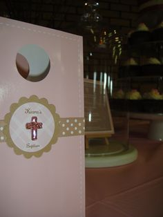 Baptism - personalised pink candy bags, latte spot ribbon with pink crystal cross.