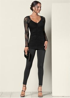 68b6d5d80d731d Front view Lace Sleeve Ruched Top Venus, Chic, Lace Sleeves, Long Sleeve  Tops