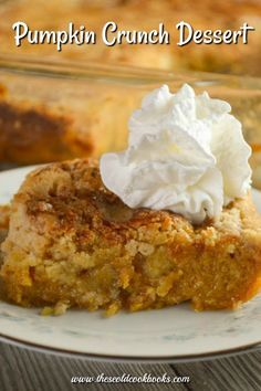 With a crisp topping and a dollop of whipped cream, this Pumpkin Crunch Dessert – made with a cake mix – is perfect for a crowd. This recipe is sometimes called Pumpkin Crunch Cake or Pumpkin Crunch Bars. We think it should be called the Best Ever Pumpkin Pumpkin Deserts, Pumpkin Cake Recipes, Cake Mix Recipes, Pumpkin With Cake Mix, Yellow Cake Recipes, Pumpkin Delight Dessert Recipe, Mini Desserts, Just Desserts, Recipes