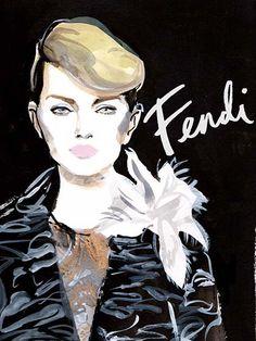 Couture Fashion Week 2015 - Fendi Illustration #Fendi #fashion #illustration