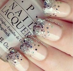 Wedding Nails, but hopefully can find white chunky glitter instead of silver.