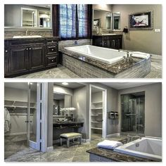 This bathroom from @LennarCACoastal has a luxurious bathtub, double sinks and an awesome built-in vanity!
