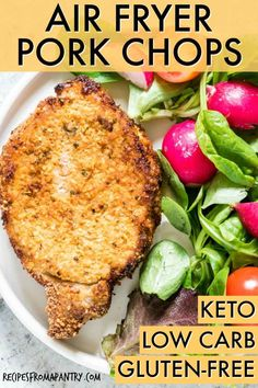 Air Fryer Pork Chops Are Everything Delicious Pork Chops Should Be, Only Healthier. Fresh On The Outside And Juicy On The Inside. Thus Much Faster Than Cooking In The Oven Or On The Stovetop Looking For That Perfect Low Carb Or Keto Pork Chops Recipe? Air Fryer Dinner Recipes, Lunch Recipes, Breakfast Recipes, Healthy Recipes, Air Fryer Recipes Low Carb, Breakfast Ideas, Air Fryer Pork Chops, Air Fryer Recipes Pork Chops, Crockpot