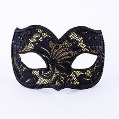 Striking yet delicate, this beautiful lace mask is crafted in a simple Colombina style using thoughtful materials and fabrics. A shimmery gold base peek. Lace Masquerade Masks, Masquerade Ball Party, Black Trim, Black Satin, Lace Mask, Confident Woman, Black Crystals, Skull, Jewels