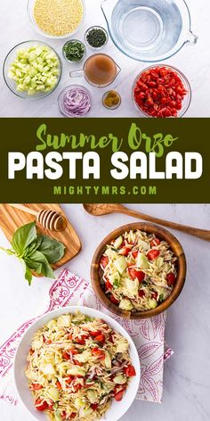 This Summer Orzo Pasta Salad makes a great potluck side dish for summer! Made with seasoned orzo pasta, fresh grape tomatoes, cucumbers and red onion plus a honey, lemon and red wine vinaigrette dressing seasoned with mint and basil. The veggies add a fresh taste to the orzo pasta cooked in chicken broth for amazing flavor. Perfect for potlucks, cookouts, picnics or just as a dinner side dish. Makes a great lunch too. Easy recipe! Fresh Salad Recipes, Cucumber Recipes, Yummy Pasta Recipes, Party Recipes, Healthy Salad Recipes, Lunch Recipes, Summer Recipes, Keto Recipes, Healthy Snacks