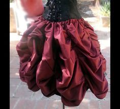 Ready to ship SHORT Steampunk Victorian Taffeta MINI Bustle Skirt Costume for Cosplay Halloween by MajesticVelvets