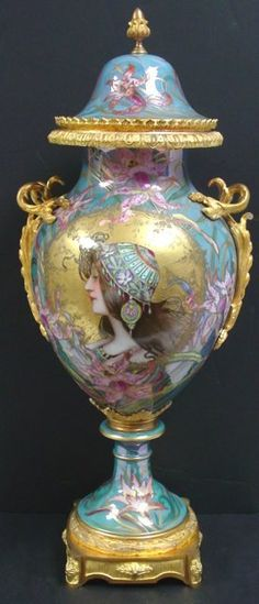 Serves Art Nouveau Covered Urn With Portrait Of Female And Luster Finish  c. 19th Century