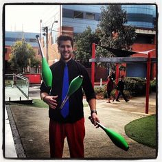 Circus performer Andrew Dyson entertained new students at Hawthorn campus during Orientation Week 2012.