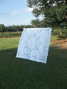 Vintage Tablecloth Linen Topper Table Drape Wedding by misshettie, $12.00