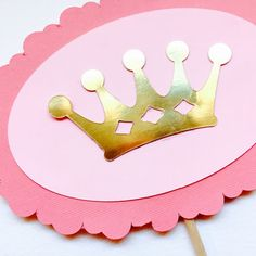 Princess Crown Cake Topper for baby girl First by PoshSoiree