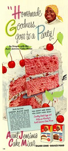 From it's a recipe for Cherry Blush cake from Aunt Jemima. Now THIS looks like a cake I would seriously enjoy. Retro Recipes, Old Recipes, Vintage Recipes, Cake Recipes, Dessert Recipes, Desserts, 1950s Recipes, Vintage Advertisements, Vintage Ads