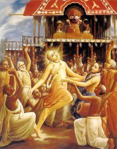 Dancing in reciprocation, Chaitanya Mahaprabhu and Lord Jagannatha