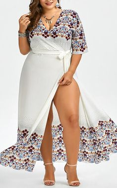 Floral Plus Size Floor Length Dress